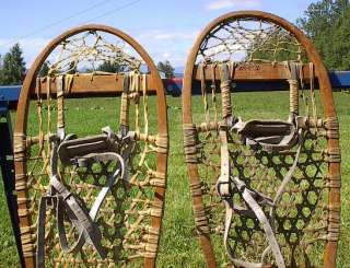 VINTAGE OLD Snowshoes LUND 28x13 Snow Shoes ANTIQUE