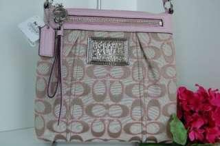 NWT Auth Coach Signature Khaki Sparkle Pink Poppy Swingpack Crossbody