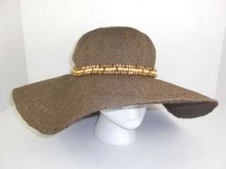 Nine West Brown Large Dress Church Sun Beaded Hat Womens Authentic