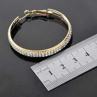14K GP Gold tone Earrings,Pave Swarovski Crystal Big Hoop 45mm