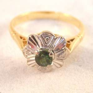 VINTAGE 1970s GREEN TOURMALINE & DIAMOND RING in 18CT GOLD size L