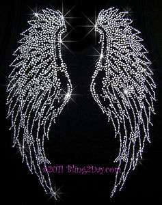 HUGE ANGEL WINGS RHINESTONE IRON ON TRANSFERS HOT FIX