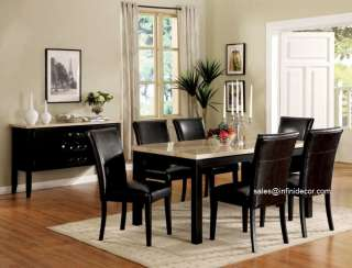 Black White Faux Marble Top Dining Table and Chair Set Modern