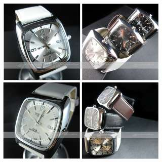watch white leather band square case design synthetic leather band