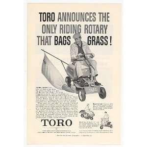 1960 Toro Pony Riding Mower Bags Grass Print Ad (19945